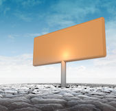 Big advertisement board in dry ground — Stock Photo