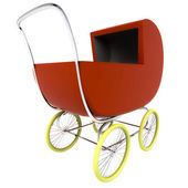 Isolated dark red baby-carriage perspective clip art — Stock Photo
