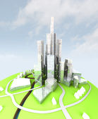 Crop of sustainable island city development — Stock Photo