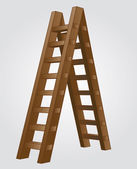 Brown wooden isolated ladder perspective view vector illustration — Stock Vector