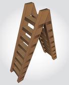Bruin houten geïsoleerde ladder vectorillustratie — Stockvector