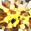 Voronoi yellow prismatic background top view perspective cover - Stock Photo