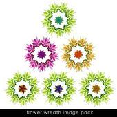 изолированные набор цветут шесть красочных венок — Стоковое фото