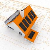 Isolated sustainable house plan — Stock Photo