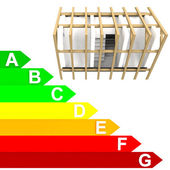 Energy class rating diagram of new building — Stock Photo