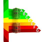 Conceito de energia de energia classe classificação do novo edifício — Fotografia Stock