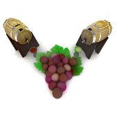 Dwie beczki symbolem białego i czerwonego wina i winogron — Zdjęcie stockowe