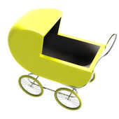 Isolated yellow baby-carriage perspective clip art — Stock Photo