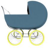 Isolated dark blue baby-carriage perspective clip art — Stock Photo
