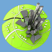 Tot view cityscape of island city development — Stock Photo