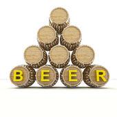 Several barrels of beer drink storage — Stock Photo