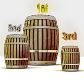 Score competition and three barrels of old wine — Stock Photo