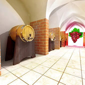 Several barrels with old wine storage and grapes perspective view — Stock Photo