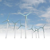 Wind energy powerful concept with sky — Stock Photo