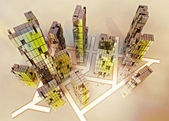 Yellow alight skyscrapers business city design concept illustration — Stock Photo