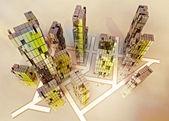 Yellow alight skyscrapers business city design concept illustration — Stock Photo