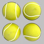 Four isolated tennis balls illustration — Stock Photo