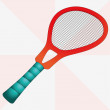 New red isolated tennis racket vector illustration - Stok Vektör