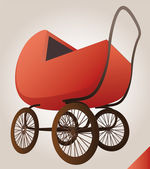 Isolated red baby-carriage perspective clip art — Stock Vector