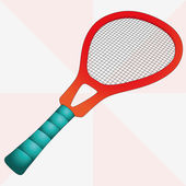 New red isolated tennis racket vector illustration — Stock vektor