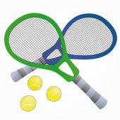 Raqueta de tenis aislado azul y verde con bolas vector illustration — Vector de stock