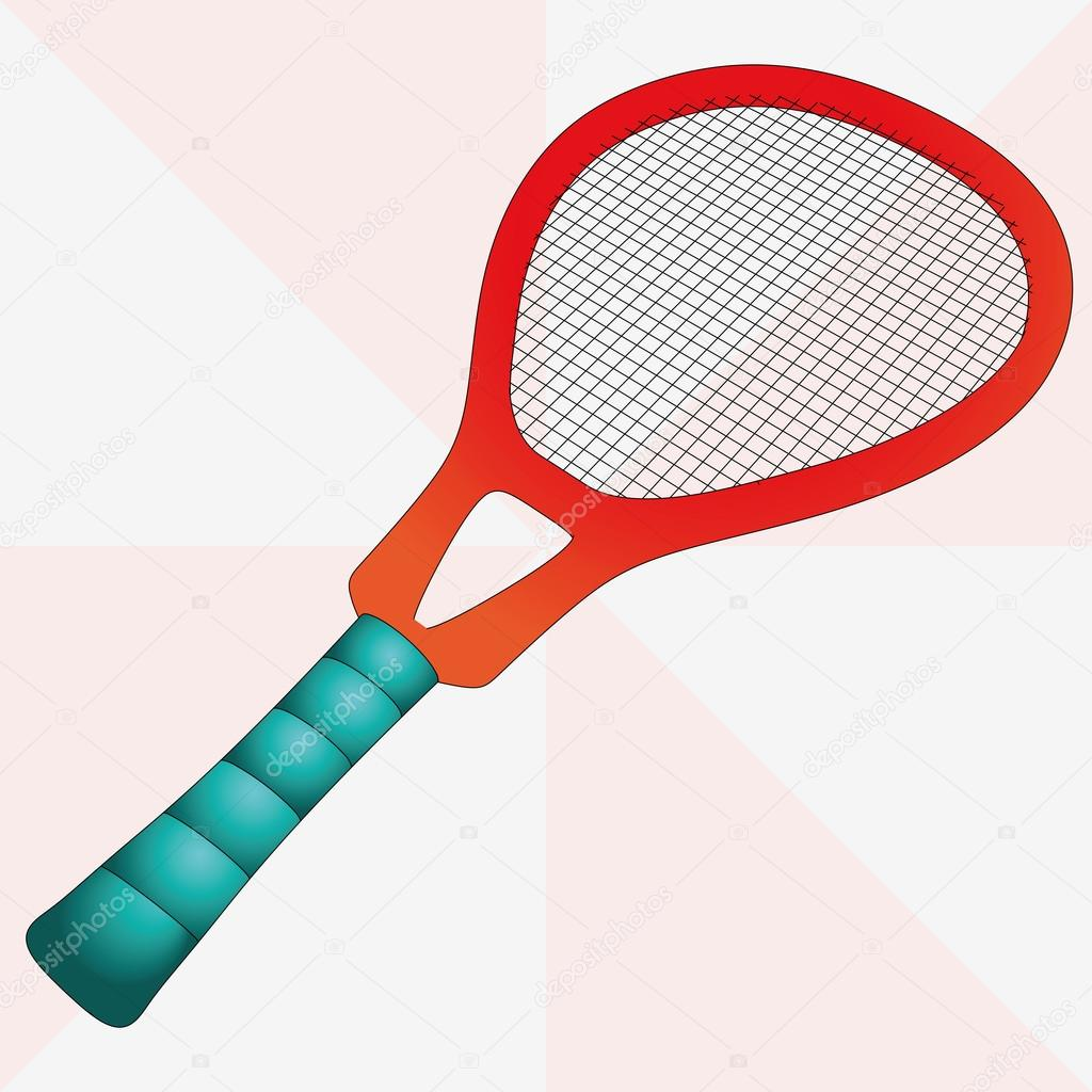 New red isolated tennis racket vector illustration — ベクター素材ストック #12806280