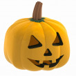 Isometric macro pumpkin halloween face illustration - Stock Photo