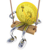 Euro coin robot swinging on a swing top right view illustration — Stock Photo
