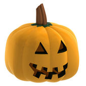 Isometric isolated pumpkin halloween scary face illustration — ストック写真
