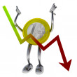 Stock Photo: Euro coin robot let fall economical graph illustration