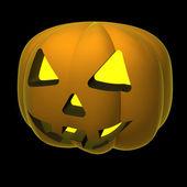 Isolated autumn orange pumpkin on black illustration — Stock Photo