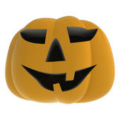 Isolated autumn scary pumpkin smiling on white illustration — Stock Photo