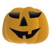 白い図笑みを浮かべて秋怖いカボチャを分離 — ストック写真