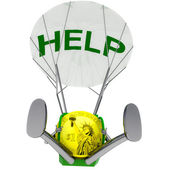 Dollar coin robot parachutist airdrop help illustration — Stock Photo