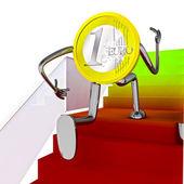 Euro munt robot uitgevoerd naar de top op trap illustratie — Stockfoto