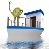 Euro coin sailing on the sea illustration — Stock Photo