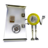 Euro coin standing protect bank vault illustration — Stock Photo