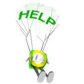 Euro münze roboter fallschirmjäger bringen hilfe abbildung — Stockfoto