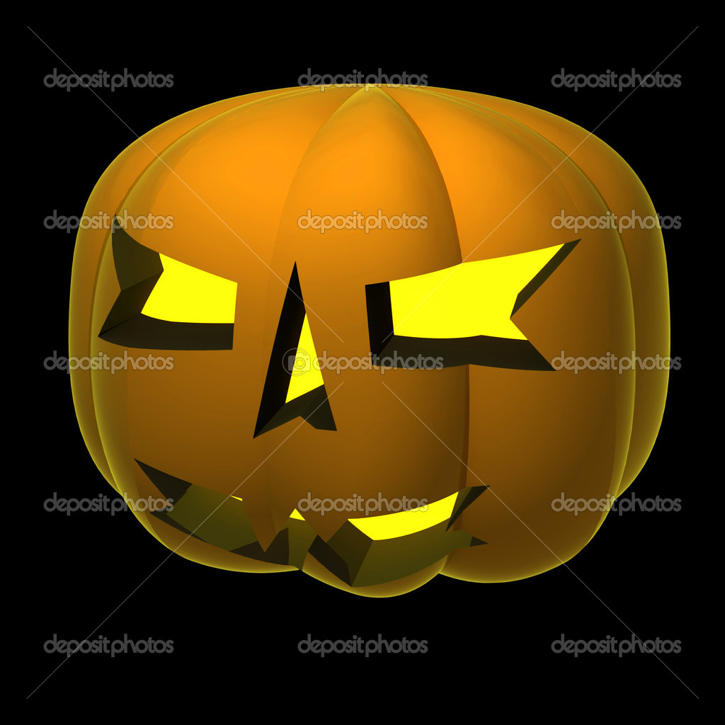 Isolated autumn pumpkin smiling render shaded  on black illustration  Stock Photo #13600275