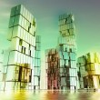 Stock Photo: Evening colorful shining glass buildings of business city project illustrat