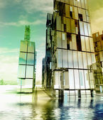 Future modern city design concept in ocean illustration — Stock Photo