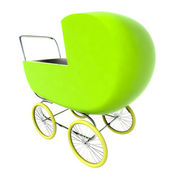 Isolated green baby-carriage perspective clip art — Stock Photo