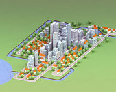 Landscape general view on new sustainable city concept development illustra — Stock Photo