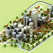 Landscape of new sustainable city concept development illustration — Stock Photo