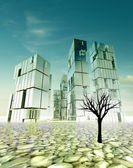 Abandoned city design concept in desert with dead tree illustration — Stock Photo
