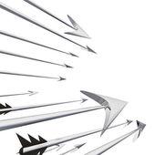 Flying metallic darts and arrows closeup illustration — Stock Photo