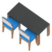 Classroom table with blue chairs in isometric back view — Stock Photo
