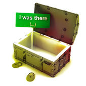 Stolen gold wealth from opened isolated antique chest with text — Stock Photo