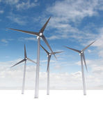 Wind power energy concept on blue skyground — Fotografia Stock