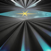 Abstract wave corridor to heaven space with yellow star wallpaper illustrat — Stock Photo
